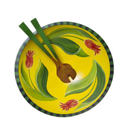 "SHERWOOD FOREST DESIGN 15"" YELLOW TULIP BOWL & SERVERS"
