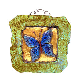 PAPER & STONE LARGE BLUE BUTTERFLY WALL PLAQUE