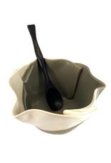 HILBORN POTTERY GRAY & WHITE MULTI-PURPOSE DISH WITH SPOON