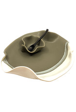HILBORN POTTERY GRAY & WHITE SMALL DIP SET WITH SPOON