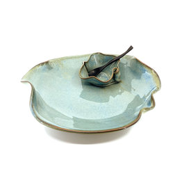 HILBORN POTTERY BLUE MEDLEY SMALL DIP SET WITH SPOON