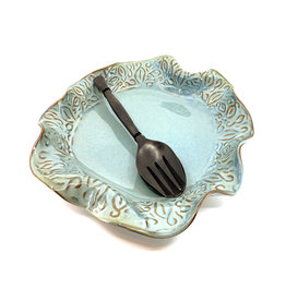 HILBORN POTTERY BLUE MEDLEY  PLATTER WITH SERVERS