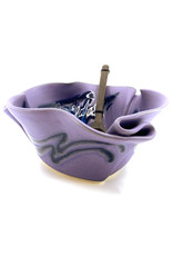 HILBORN POTTERY PERIWINKLE SERVING BOWL FOR FUNKY FOOD WITH SERVERS