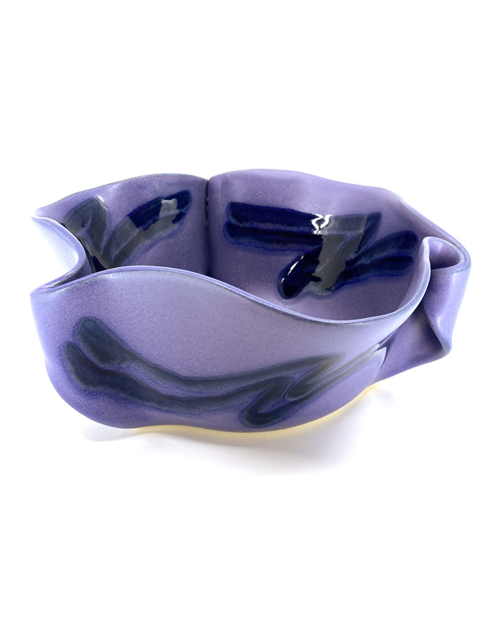 HILBORN POTTERY LARGE PERIWINKLE CURLY BOWL WITH SERVERS