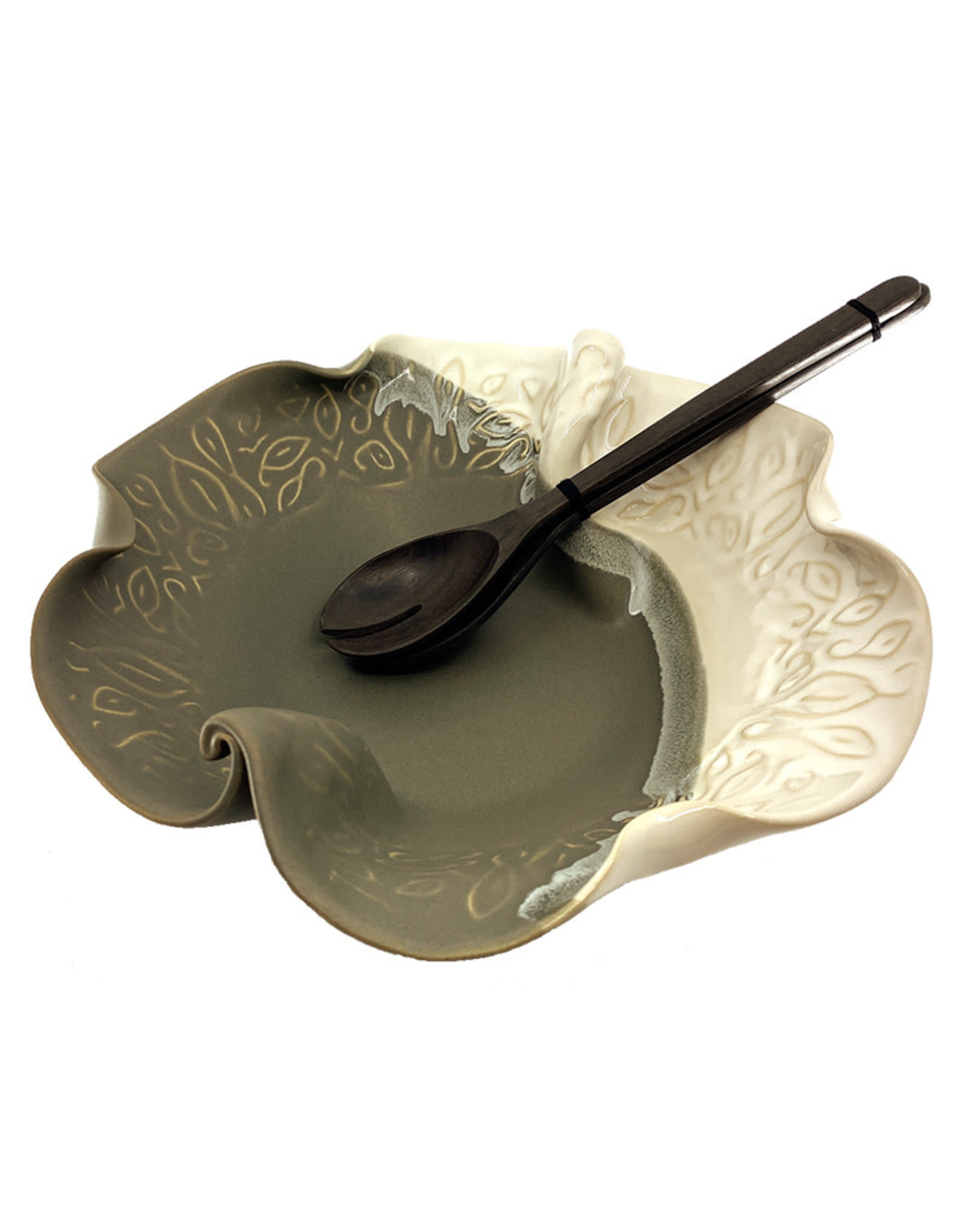 HILBORN POTTERY GRAY & WHITE IN-BETWEEN BOWL WITH SERVERS