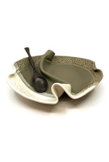 HILBORN POTTERY GRAY & WHITE 2-SIDED CONDIMENT DISH WITH SPOON