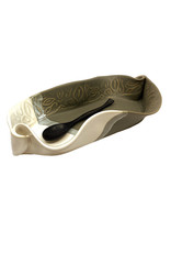 HILBORN POTTERY GRAY & WHITE ASPARAGUS DISH WITH SPOON