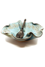 HILBORN POTTERY BLUE MEDLEY IN-BETWEEN BOWL WITH SERVERS