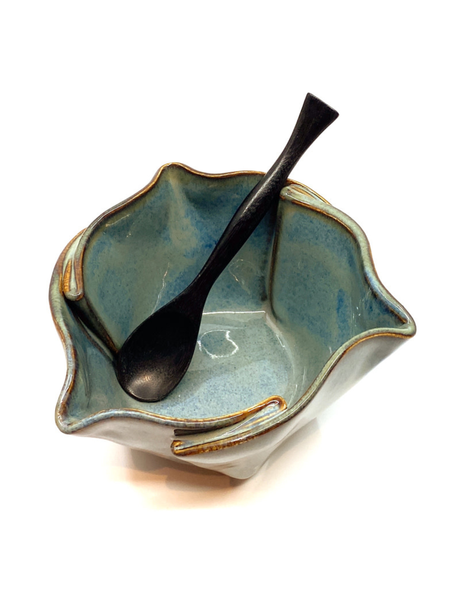 HILBORN POTTERY BLUE MEDLEY MULTI-PURPOSE DISH WITH SPOON