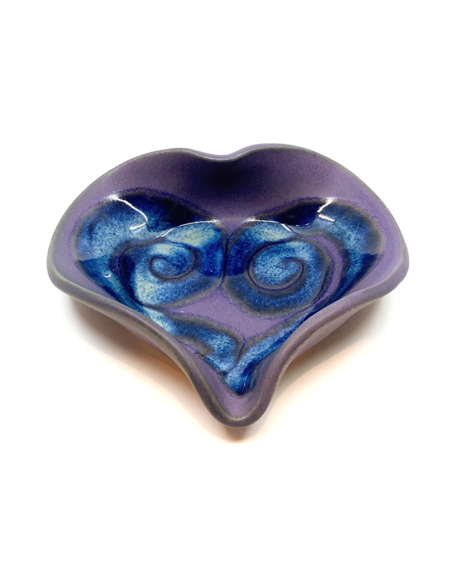 HILBORN POTTERY PERIWINKLE HEART DISH WITH SPOON