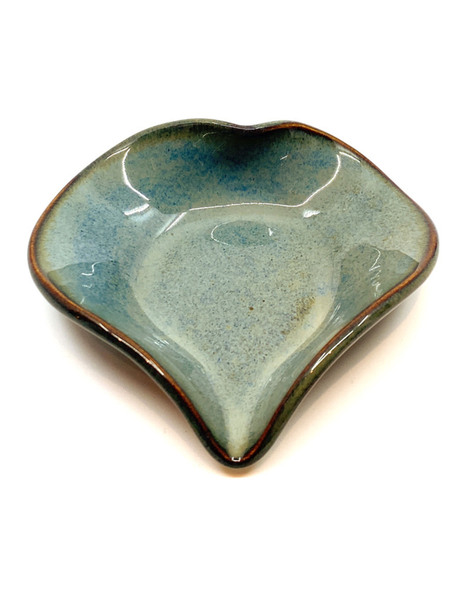 HILBORN POTTERY BLUE MEDLEY HEART DISH WITH SPOON
