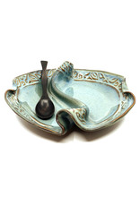 HILBORN POTTERY BLUE MEDLEY 2-SIDED CONDIMENT DISH WITH SPOON