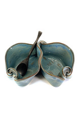 HILBORN POTTERY BLUE MEDLEY PISTACHIO BOWL WITH SPOON