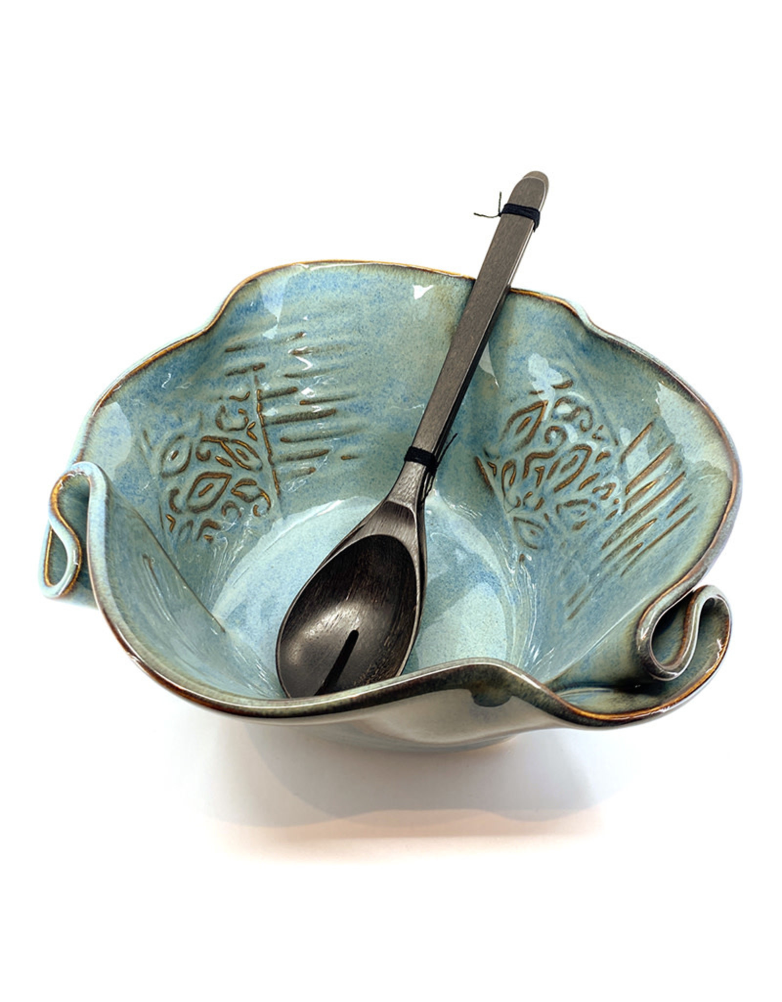 HILBORN POTTERY BLUE MEDLEY SERVING BOWL FOR FUNKY FOOD WITH SERVERS