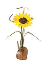 WOOD WILDFLOWERS EXPRESSIONS WOOD FLOWER ARRANGEMENT WITH 1 SUNFLOWER