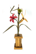 WOOD WILDFLOWERS SALVAGED WOOD PILLAR ARRANGEMENT WITH 3 SMALL FLOWERS