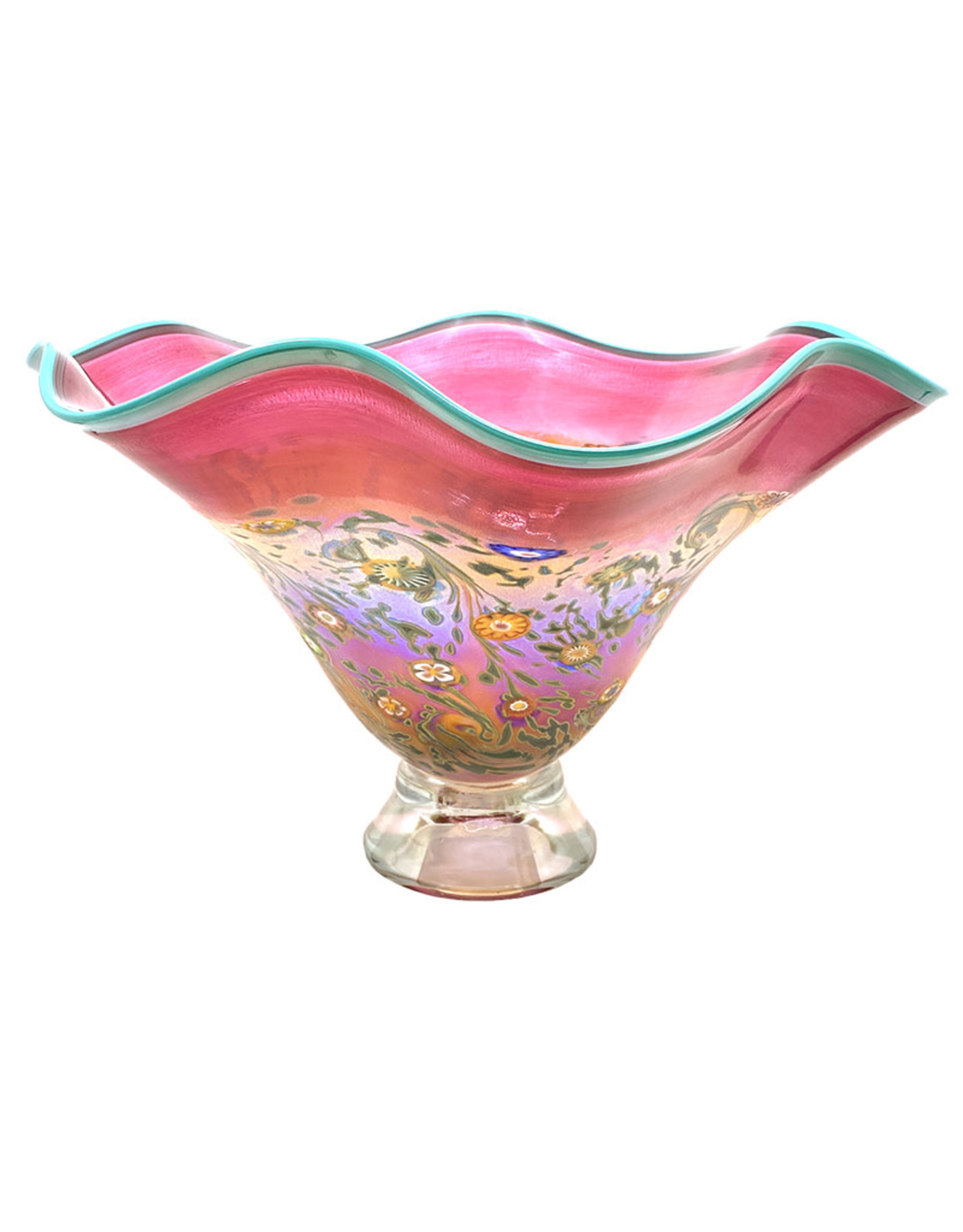HANSON & KASTLES ART GLASS FLUTED RUBY MONET BOWL