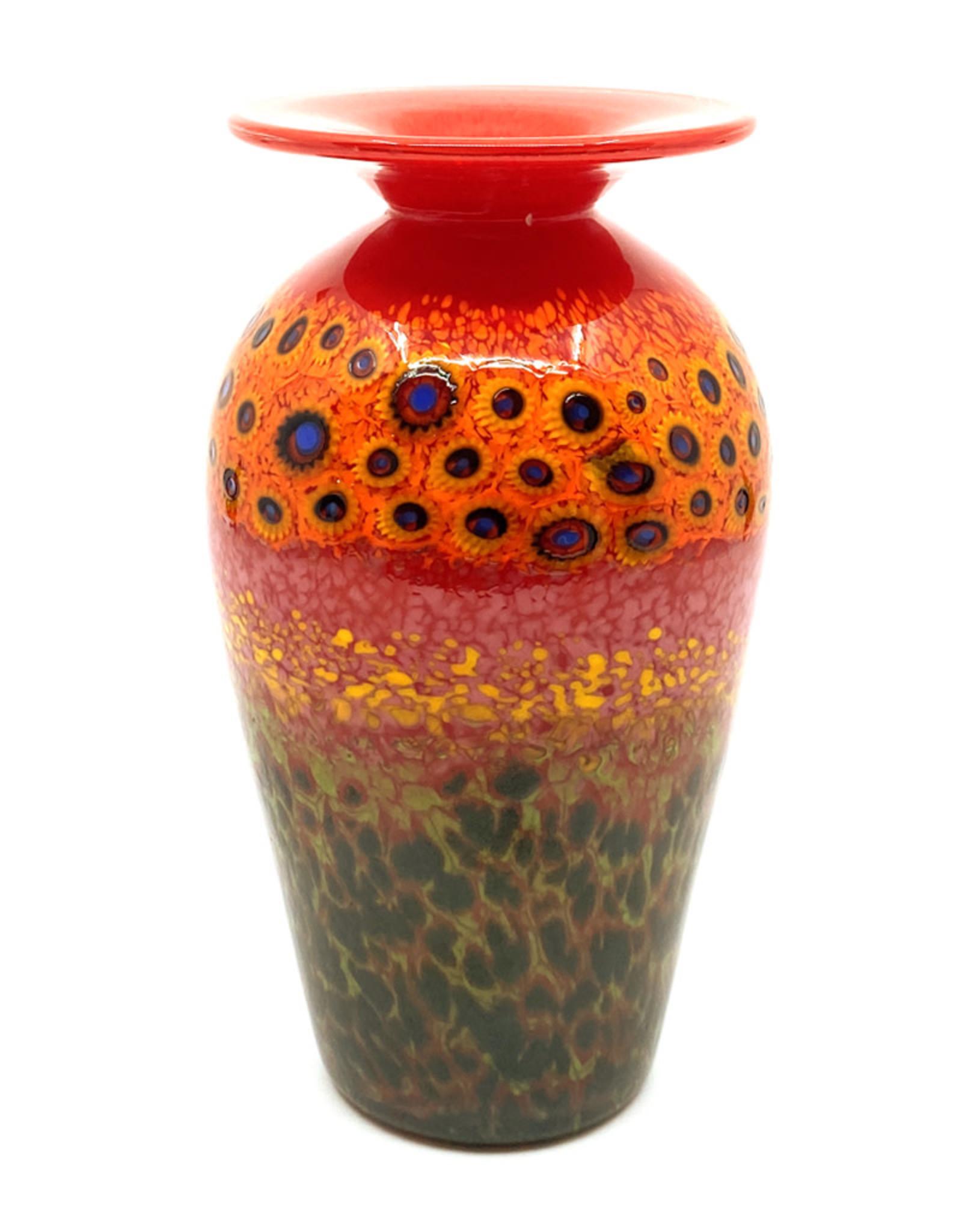 HANSON & KASTLES ART GLASS RED GARDEN VASE