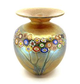 HANSON & KASTLES ART GLASS IRIS GOLD VINES VASE
