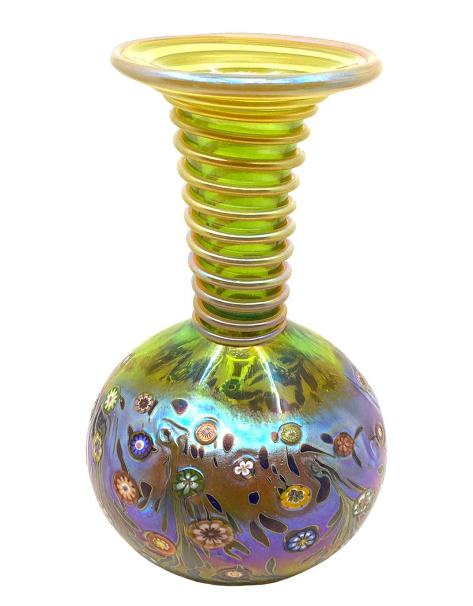 HANSON & KASTLES ART GLASS LIME MONET COIL VASE