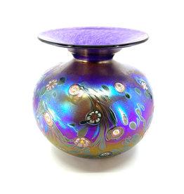 HANSON & KASTLES ART GLASS PURPLE MONET PUFFER VASE