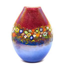 HANSON & KASTLES ART GLASS RUBY/AQUA WILDFLOWER POUCH VASE