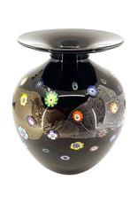 HANSON & KASTLES ART GLASS BLACK BLOSSOM VASE