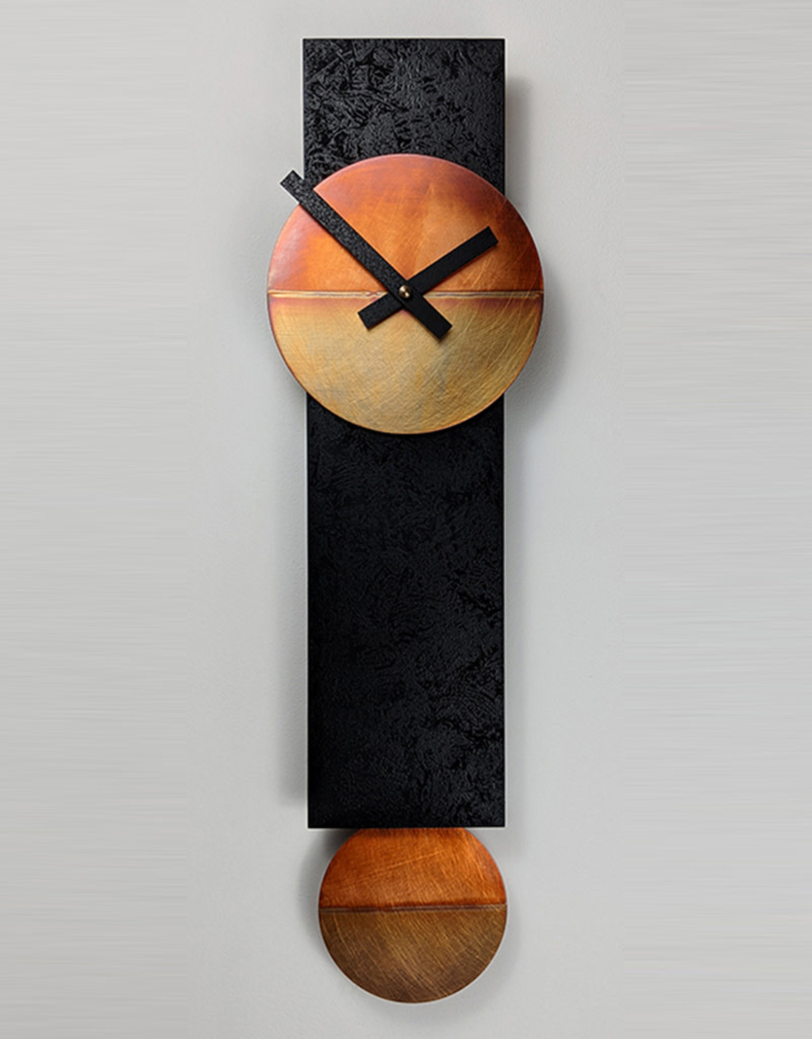 LEONIE LACOUETTE NARROW BLACK & COPPER PENDULUM CLOCK