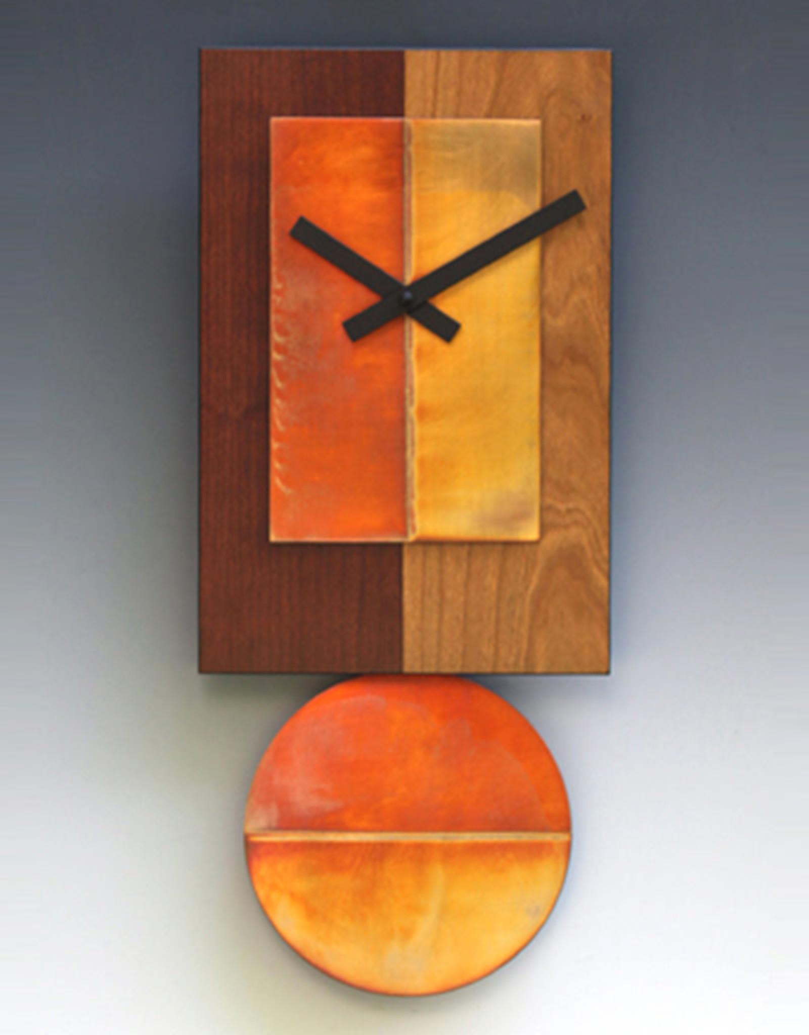 LEONIE LACOUETTE TWO-TONE CHERRY & COPPER PENDULUM CLOCK