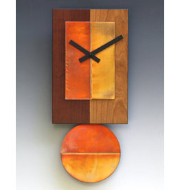 LEONIE LACOUETTE TWO-TONE CHERRY & COPPER PENDULUM CLOCK