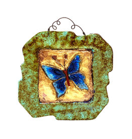 PAPER & STONE SMALL BLUE BUTTERFLY WALL PLAQUE