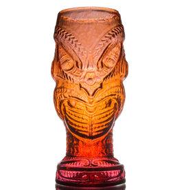 IANNAZZI GLASS DESIGN HEAD HUNTER LAVA RED GLASS TIKI MUG