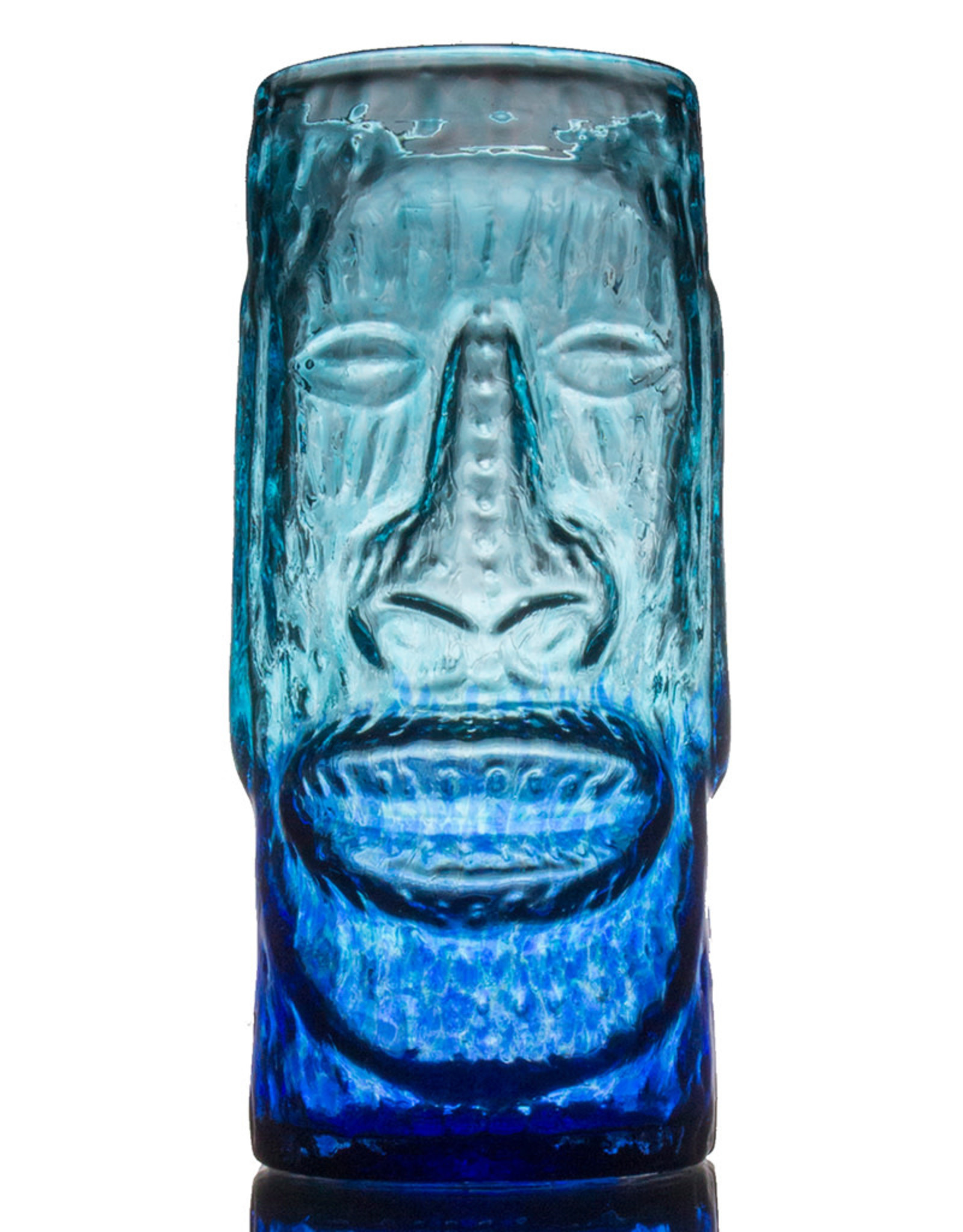 IANNAZZI GLASS DESIGN MOAI BLUE LAGOON GLASS TIKI MUG