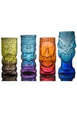 IANNAZZI GLASS DESIGN WARRIOR BLUE LAGOON GLASS TIKI MUG