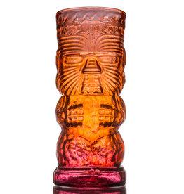 IANNAZZI GLASS DESIGN WARRIOR LAVA RED GLASS TIKI MUG