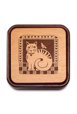 HEARTWOOD CREATIONS FOLK CAT FLIP-TOP PHOTO BOX