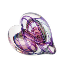 GLASS EYE AMETHYST HEART PAPERWEIGHT