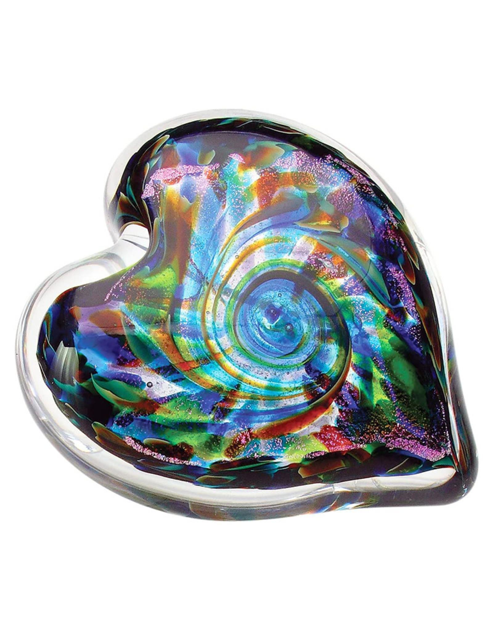 GLASS EYE ANNIVERSARY HEART PAPERWEIGHT