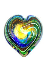 GLASS EYE GOLDEN RAINBOW HEART PAPERWEIGHT
