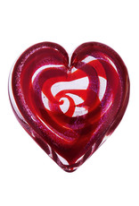 GLASS EYE SCARLET HEART PAPERWEIGHT