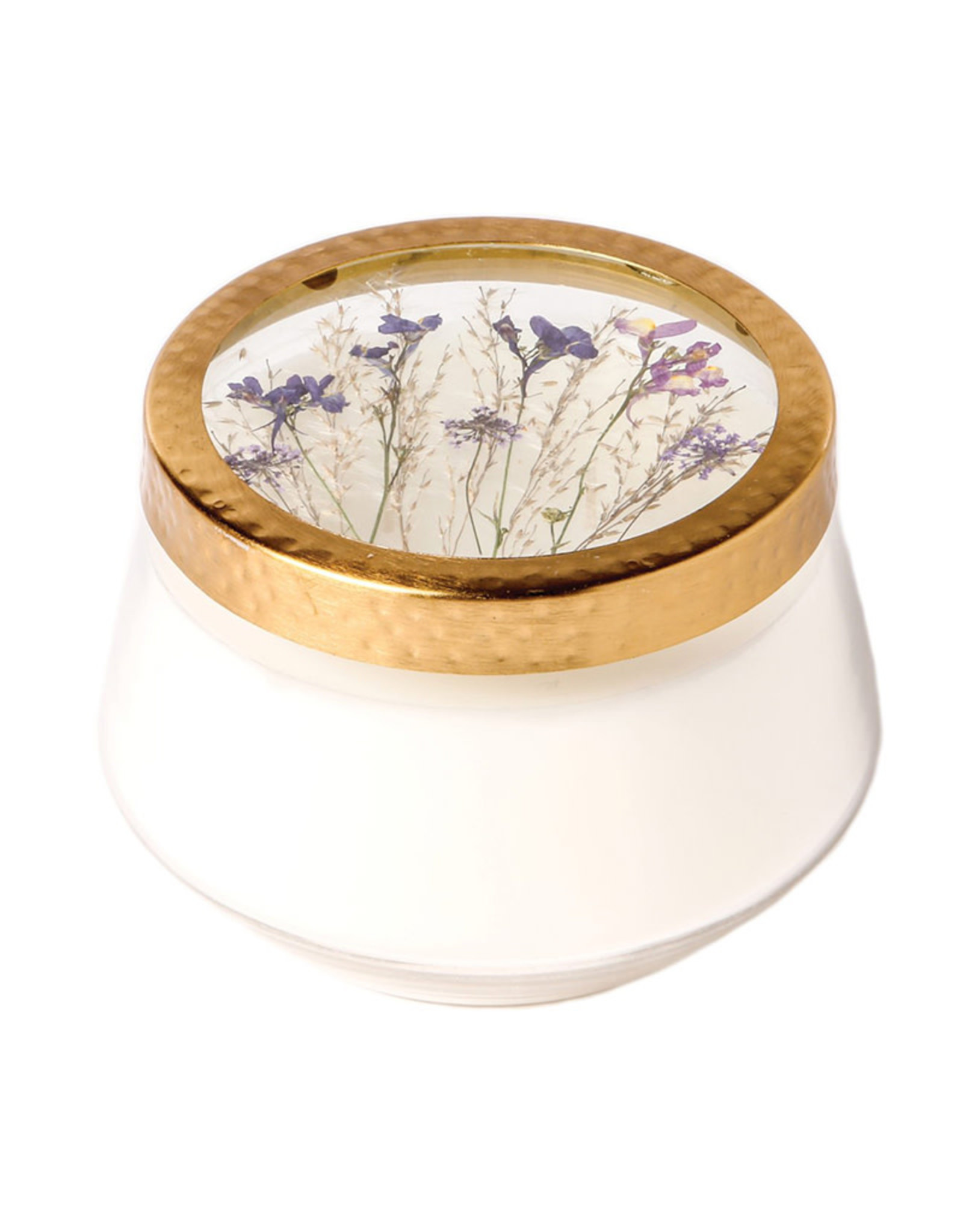 ROSY RINGS ROMAN LAVENDER LARGE PRESSED FLOWER CANDLE