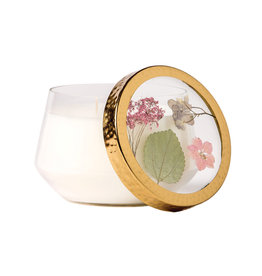 ROSY RINGS APRICOT ROSE LARGE PRESSED FLOWER CANDLE