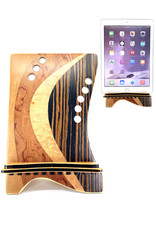 LOST ART WOODWORKS BROWN STRIPED II MARQUETRY INLAID TABLET STAND