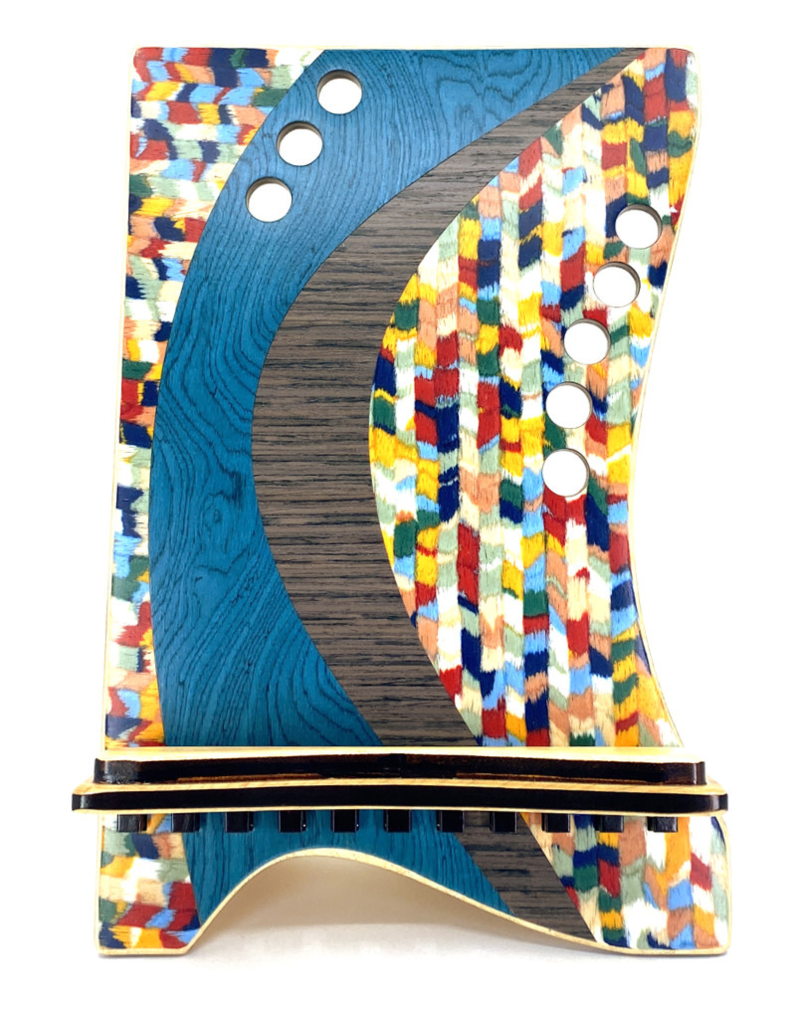 LOST ART WOODWORKS BLUE CONFETTI MARQUETRY INLAID TABLET STAND
