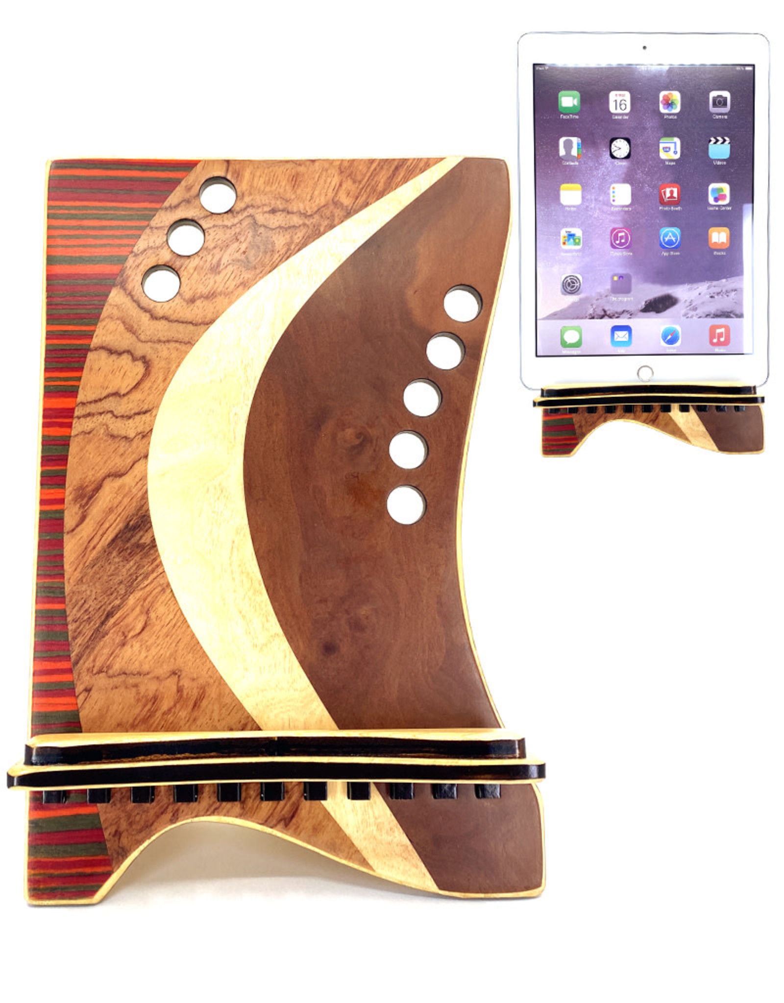 LOST ART WOODWORKS RED STRIPED MARQUETRY INLAID TABLET STAND