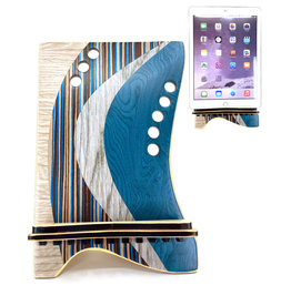 LOST ART WOODWORKS BLUE STRIPED MARQUETRY INLAID TABLET STAND