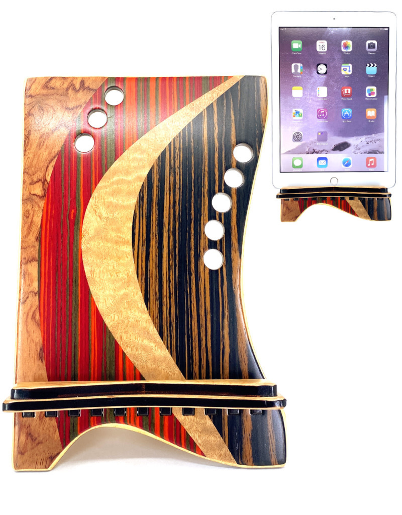LOST ART WOODWORKS RED & BROWN STRIPED MARQUETRY INLAID TABLET STAND