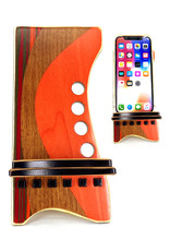 LOST ART WOODWORKS ORANGE & BROWN III MARQUETRY INLAID PHONE STAND