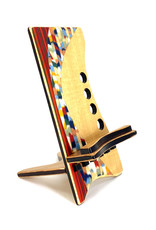 LOST ART WOODWORKS RED CONFETTI II MARQUETRY INLAID PHONE STAND