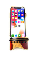LOST ART WOODWORKS RED STRIPED VI MARQUETRY INLAID PHONE STAND